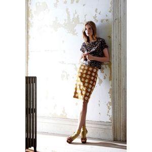 Anthro Maeve Corded Dot Straight Pencil Skirt SZ 4